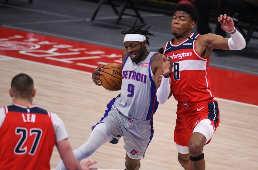 Detroit Pistons forward Jerami Grant (9) drives to the basket as Washington Wizards forward Rui Hachimura (8) defend. Credit: Tim Fuller-USA TODAY Sports
