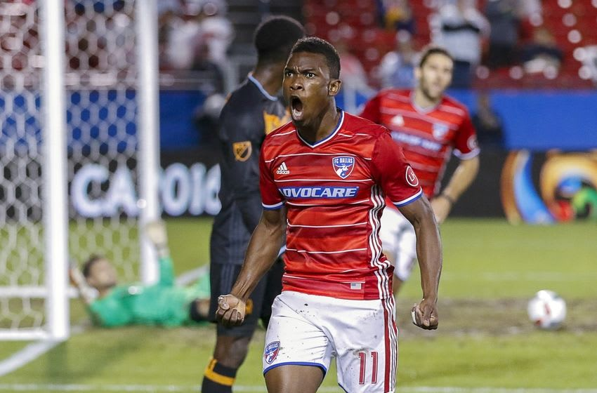Jun 2, 2016; Dallas, TX, USA; FC Dallas forward Fabian Castillo (11) celebrates his assist on a goal against the Houston Dynamo during the first half of game at Toyota Stadium. Mandatory Credit: Ray Carlin-USA TODAY Sports