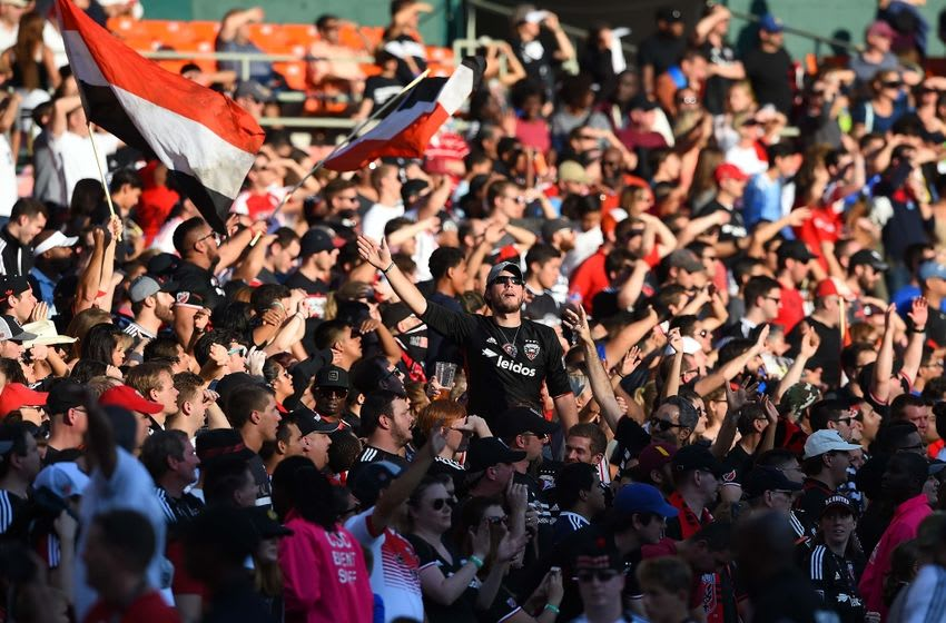 Oct 16, 2016; Washington, DC, USA; D.C. United fans cheers at time expires during the second half against the New York City FC at Robert F. Kennedy Memorial. D.C. United defeated New York City FC 3-1. Mandatory Credit: Tommy Gilligan-USA TODAY Sports