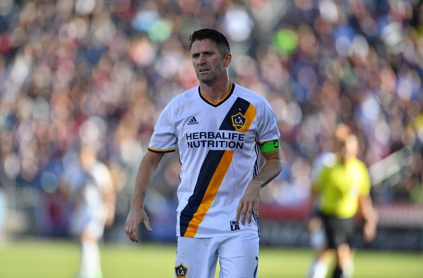 Nov 6, 2016; Commerce City, CO, USA; Los Angeles Galaxy forward Robbie Keane (7) in the first half of the playoff match against the Colorado Rapids at Dick