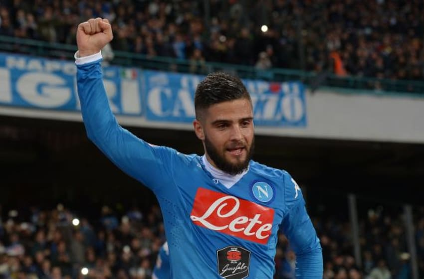 NAPLES, ITALY - FEBRUARY 22 : Lorenzo Insigne of Napoli celebrates after scoring a goal during the Serie A between SSC Napoli and AC Milan at Stadio San Paolo on February 22, 2016 in Naples, Italy. (Photo by Fabio Bozzani/Anadolu Agency/Getty Images)