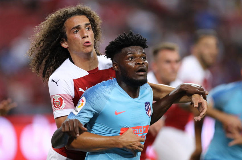 Matteo Guendouzi and Thomas Partey, Arsenal vs Atletico Madrid. (Photo by Pakawich Damrongkiattisak/Getty Images)