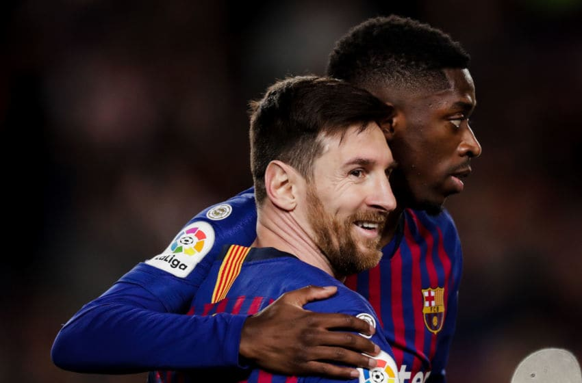Lionel Messi and Ousmane Dembele, Barcelona (Photo by Jeroen Meuwsen/Soccrates/Getty Images)