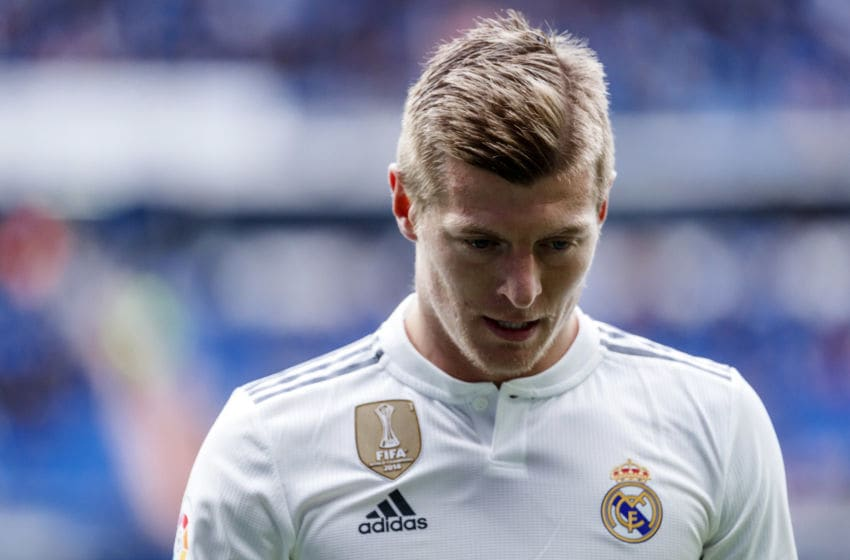 MADRID, SPAIN - APRIL 06: Toni Kroos of Real Madrid looks on during the La Liga match between Real Madrid CF and SD Eibar at Estadio Santiago Bernabeu on April 06, 2019 in Madrid, Spain. (Photo by TF-Images/Getty Images)