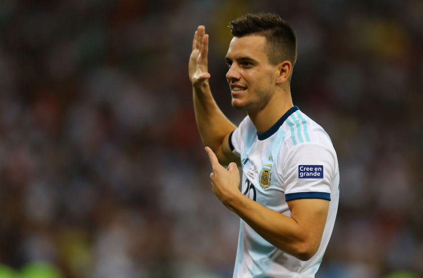 RIO DE JANEIRO, BRAZIL - JUNE 28: Giovani Lo Celso of Argentina celebrates after scoring the second goal of his team during the Copa America Brazil 2019 quarterfinal match between Argentina and Venezuela at Maracana Stadium on June 28, 2019 in Rio de Janeiro, Brazil. (Photo by Lucas Uebel/Getty Images)