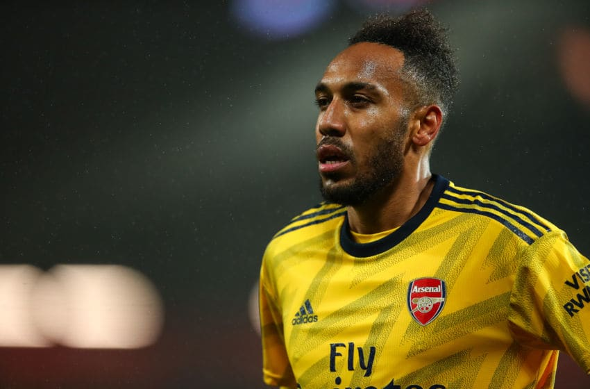 MANCHESTER, ENGLAND - SEPTEMBER 30: Pierre-Emerick Aubameyang of Arsenal during the Premier League match between Manchester United and Arsenal FC at Old Trafford on September 30, 2019 in Manchester, United Kingdom. (Photo by Robbie Jay Barratt - AMA/Getty Images)