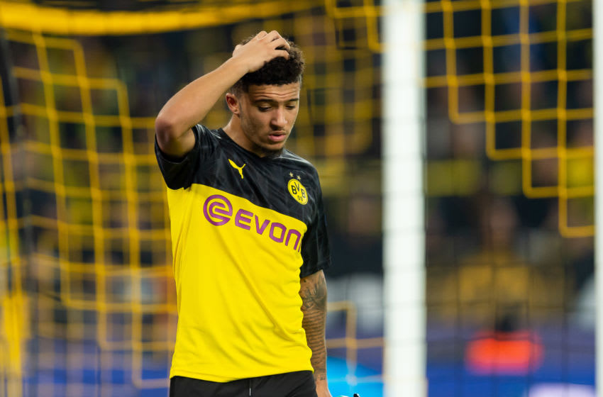 DORTMUND, GERMANY - NOVEMBER 05: Jadon Sancho of Borussia Dortmund gestures during the UEFA Champions League group F match between Borussia Dortmund and Inter at Signal Iduna Park on November 5, 2019 in Dortmund, Germany. (Photo by TF-Images/Getty Images)