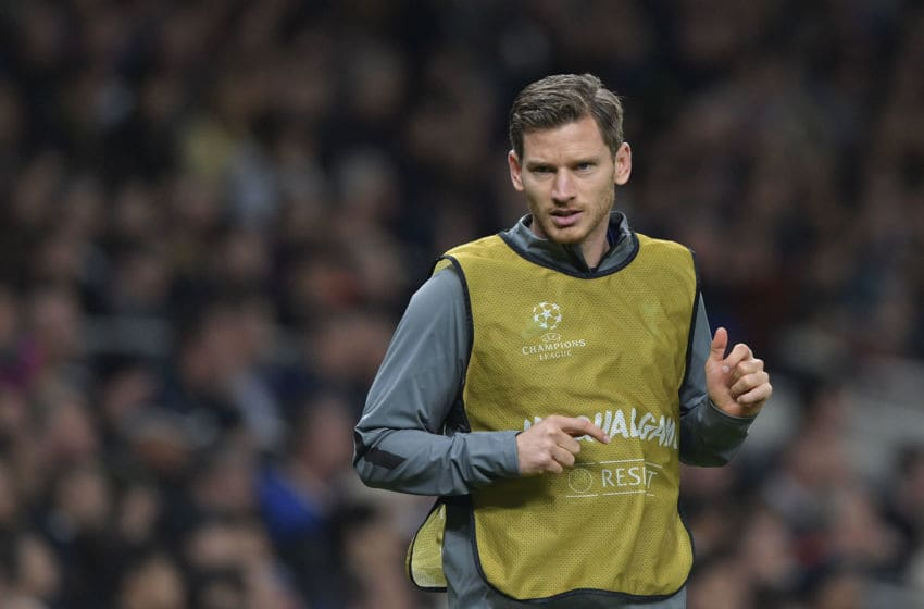 LONDON, ENGLAND - NOVEMBER 26: Jan Vertonghen of Tottenham Hotspur looks on during the UEFA Champions League group B match between Tottenham Hotspur and Olympiacos FC at Tottenham Hotspur Stadium on November 26, 2019 in London, United Kingdom. (Photo by TF-Images/Getty Images)