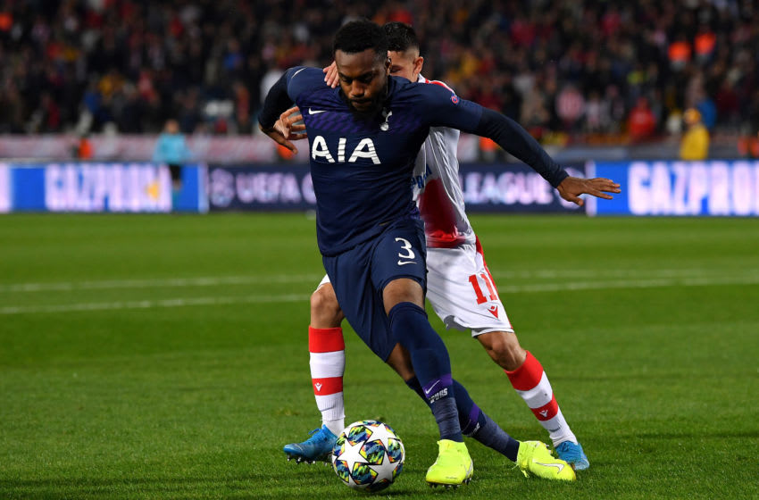 BELGRADE, SERBIA - NOVEMBER 06: Danny Rose of Tottenham Hotspur holds off Mateo Garcia of Crvena Zvezda during the UEFA Champions League group B match between Crvena Zvezda and Tottenham Hotspur at Rajko Mitic Stadium on November 06, 2019 in Belgrade, Serbia. (Photo by Justin Setterfield/Getty Images)