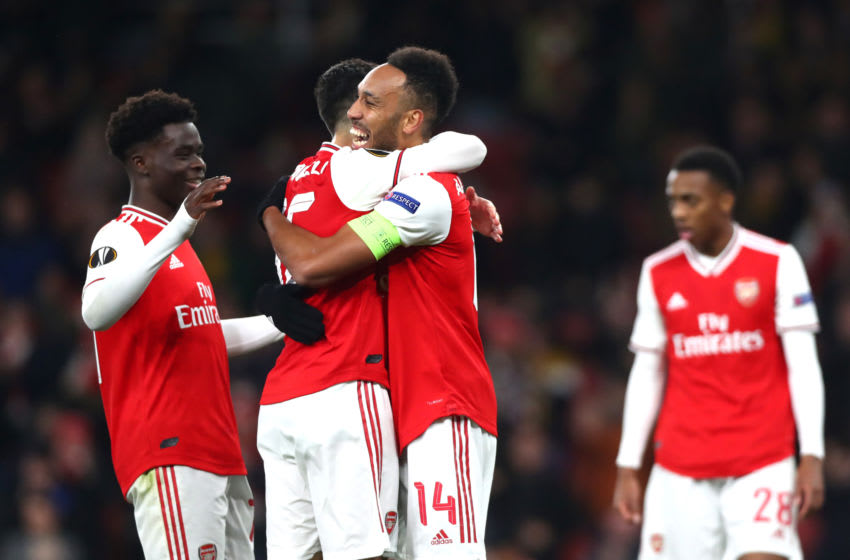 LONDON, ENGLAND - NOVEMBER 28: Pierre-Emerick Aubameyang of Arsenal celebrates scoring his teams first goal during the UEFA Europa League group F match between Arsenal FC and Eintracht Frankfurt at Emirates Stadium on November 28, 2019 in London, United Kingdom. (Photo by Chloe Knott - Danehouse/Getty Images)