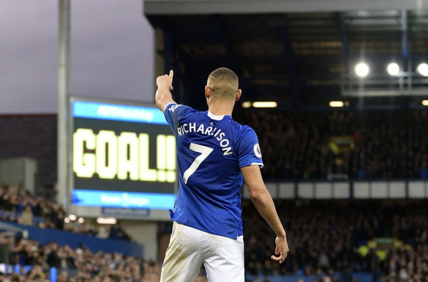 LIVERPOOL, ENGLAND - JANUARY 11: Richarlison of Everton celebrates his goal during the Premier League match between Everton and Brighton & Hove Albion at Goodison Park on January 11, 2020 in Liverpool, England. (Photo by Tony McArdle/Everton FC via Getty Images)