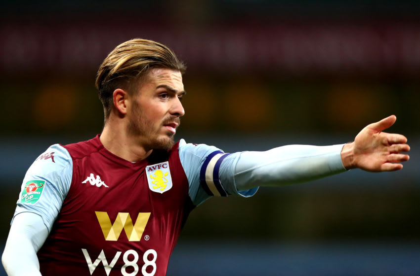 BIRMINGHAM, ENGLAND - JANUARY 28: Jack Grealish of Aston Villa gestures during the Carabao Cup Semi Final match between Aston Villa and Leicester City at Villa Park on January 28, 2020 in Birmingham, England. (Photo by Chloe Knott - Danehouse/Getty Images)