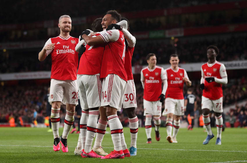 LONDON, ENGLAND - FEBRUARY 23: Pierre-Emerick Aubameyang of Arsenal celebrates after scoring a goal to make it 3-2 during the Premier League match between Arsenal FC and Everton FC at Emirates Stadium on February 23, 2020 in London, United Kingdom. (Photo by James Williamson - AMA/Getty Images)