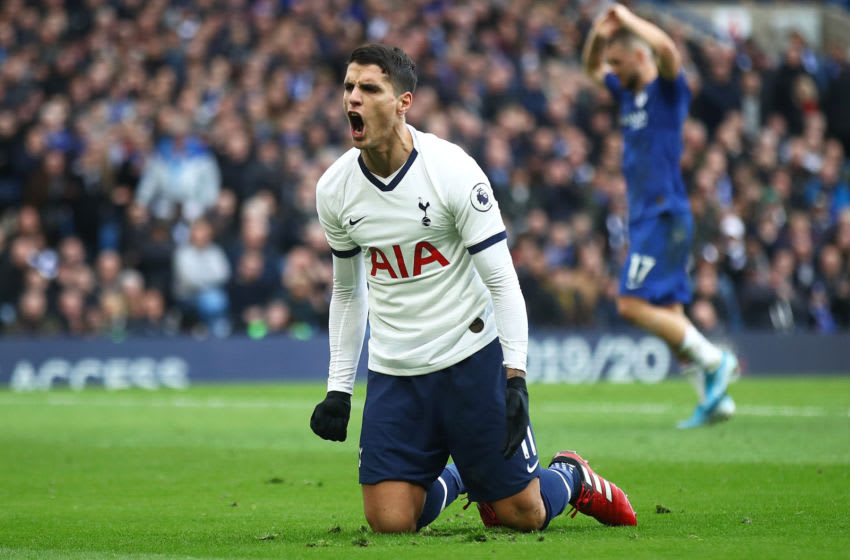 LONDON, ENGLAND - FEBRUARY 22: Erik Lamela of Spurs celebrates his teams goal during the Premier League match between Chelsea FC and Tottenham Hotspur at Stamford Bridge on February 22, 2020 in London, United Kingdom. (Photo by Julian Finney/Getty Images)
