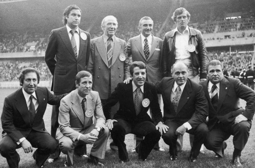 Famous figures from football history gathered on the pitch before the European Cup final between Leeds United and Bayern Munich, (back row from left) Marquitez, Matt Busby, Miguel Munoz and Keizer, (front row from left) Francisco Gento, Raymond Kopa, Jose Augusto, Alfredo Di Stefano and Ferenc Puskas. (Photo by Central Press/Getty Images)