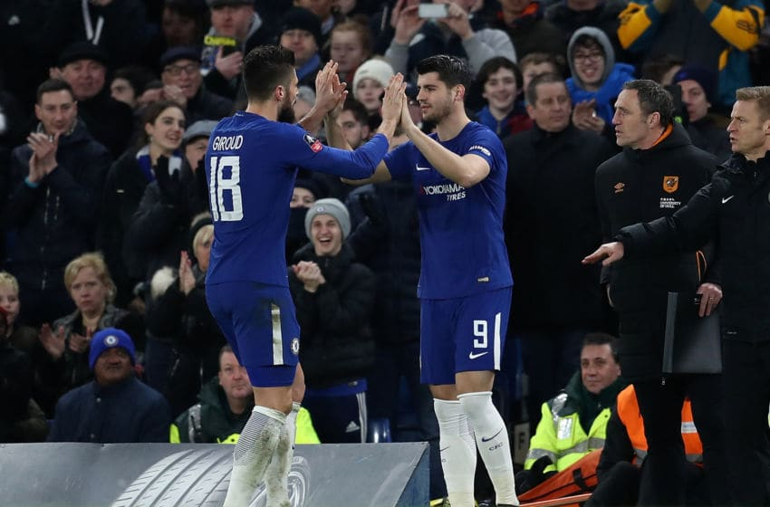 LONDON, ENGLAND - FEBRUARY 16: Alvaro Morata of Chelsea replaces team mate Olivier Giroud during The Emirates FA Cup Fifth Round match between Chelsea and Hull City at Stamford Bridge on February 16, 2018 in London, England. (Photo by Catherine Ivill/Getty Images)