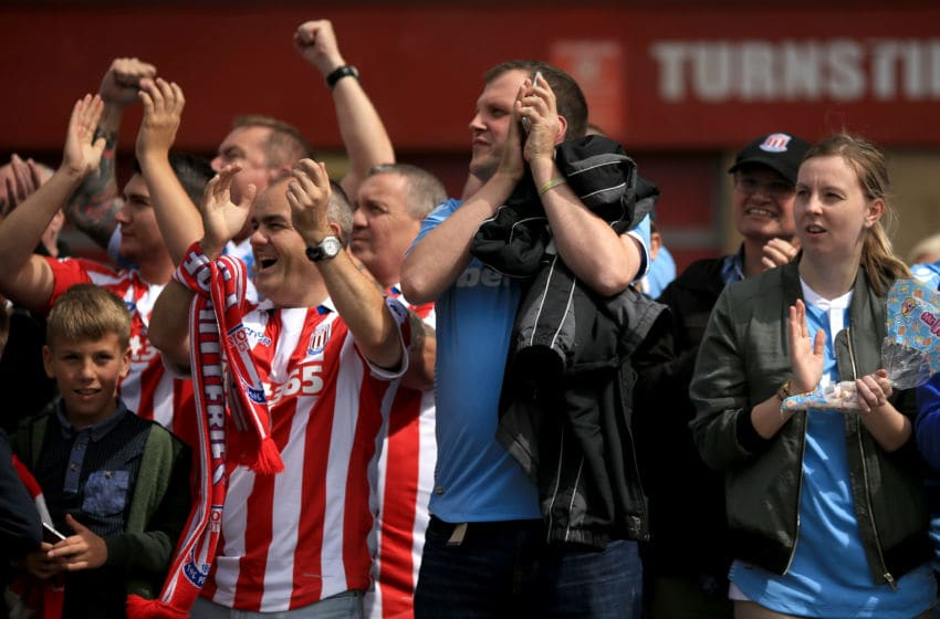 MIDDLESBROUGH, ENGLAND - AUGUST 13: Stoke City fans welcome their team to the Riverside Stadium during the Premier League match between Middlesbrough and Stoke City at Riverside Stadium on August 13, 2016 in Middlesbrough, England. (Photo by Stephen Pond/Getty Images)