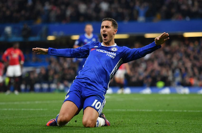 LONDON, ENGLAND - OCTOBER 23: Eden Hazard of Chelsea celebrates scoring his sides third goal during the Premier League match between Chelsea and Manchester United at Stamford Bridge on October 23, 2016 in London, England. (Photo by Mike Hewitt/Getty Images)
