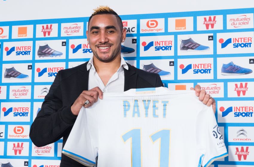MARSEILLE, FRANCE - JANUARY 30: New Olympique de Marseille player Dimitri Payet answers journalists' questions during a press conference at the Robert Louis Dreyfus stadium on January 30, 2017 in Marseille, France. The French international has signed a four and a half year contract with the French Ligue 1 club. (Photo by Clement Mahoudeau/IP3/Getty Images)
