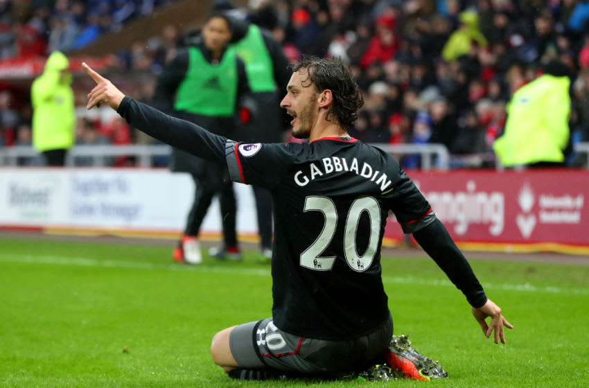SUNDERLAND, ENGLAND - FEBRUARY 11: Manolo Gabbiadini of Southampton celebrates scoring the opening goal during the Premier League match between Sunderland and Southampton at Stadium of Light on February 11, 2017 in Sunderland, England. (Photo by Ian MacNicol/Getty Images)