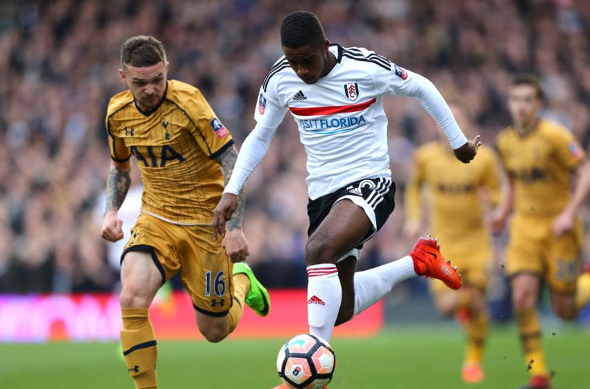 LONDON, ENGLAND - FEBRUARY 19: Ryan Sessegnon of Fulham battles with Kieran Trippier of Tottenham Hotspur during The Emirates FA Cup Fifth Round match between Fulham and Tottenham Hotspur at Craven Cottage on February 19, 2017 in London, England. (Photo by Clive Rose/Getty Images)
