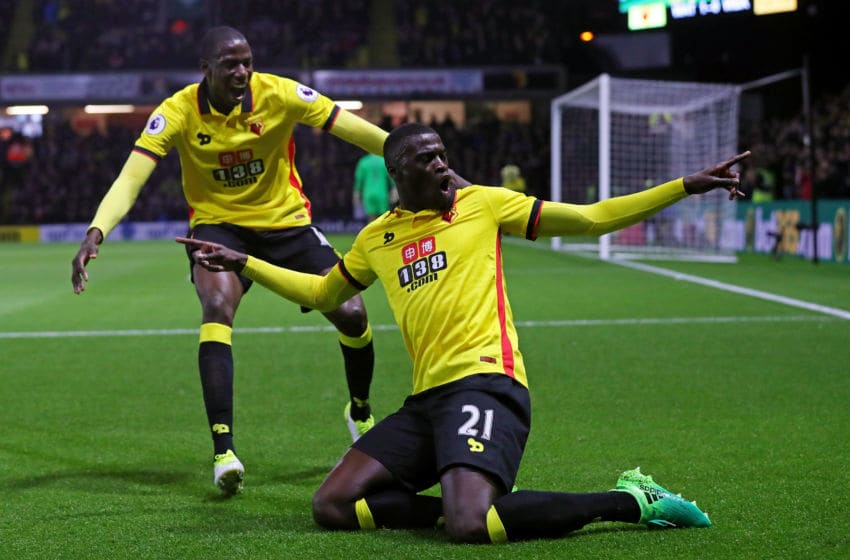 WATFORD, ENGLAND - APRIL 04: M'Baye Niang of Watford celebrates scoring his sides first goal during the Premier League match between Watford and West Bromwich Albion at Vicarage Road on April 4, 2017 in Watford, England. (Photo by Clive Rose/Getty Images)