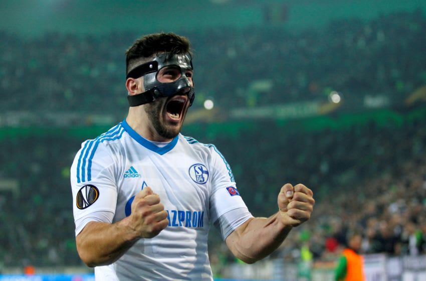MOENCHENGLADBACH, GERMANY - MARCH 16: Sead Kolasinac of Schalke celebrate the 2-2 against Moenchengladbach after the UEFA Europa League round of 16 soccer match between Borussia Moenchengladbach and FC Schalke 04 at the Borussia Park in Moenchengladbach Germany on March 16, 2017. (Photo by Ina Fassbender/Anadolu Agency/Getty Images)