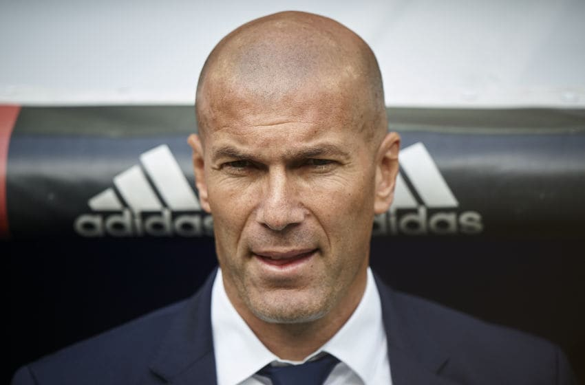 MADRID, SPAIN - MAY 14: Real Madrid manager Zinedine Zidane looks on prior the La Liga match between Real Madrid CF and Sevilla CF at Estadio Santiago Bernabeu on May 14, 2017 in Madrid, Spain. (Photo by fotopress/Getty Images )