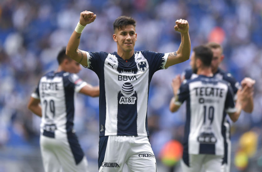 Maxi Meza scored twice against Columbus Crew in the CCL quarterfinals, leading the Rayados to a 3-0 win. (Photo by Azael Rodriguez/Getty Images)