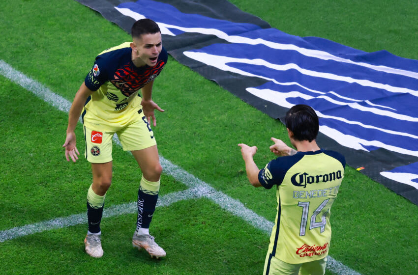Alvaro Fidalgo (left) celebrates with Nico Benedetti after the latter provided the assist on Fidalgo's goa against Mazatlán FCl. (Photo by Hector Vivas/Getty Images)
