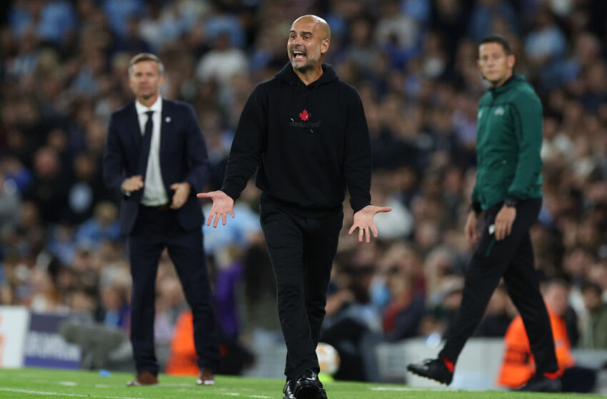 MANCHESTER, ENGLAND - SEPTEMBER 15: Pep Guardiola, Manager of Manchester City reacts during the UEFA Champions League group A match between Manchester City and RB Leipzig at Etihad Stadium on September 15, 2021 in Manchester, England. (Photo by Richard Heathcote/Getty Images)