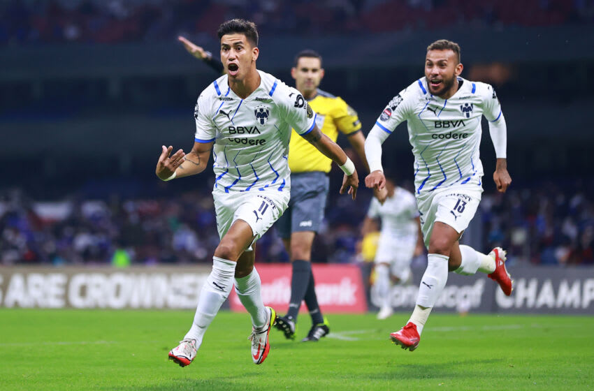 Maxi Meza (left) celebrates after scoring the first goal of the match to give Monterrey a 2-0 aggregate lead against Cruz Azul. (Photo by Hector Vivas/Getty Images)