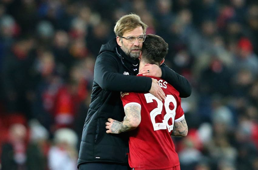 LIVERPOOL, ENGLAND - JANUARY 27: Jurgen Klopp, Manager of Liverpool hugs Danny Ings during The Emirates FA Cup Fourth Round match between Liverpool and West Bromwich Albion at Anfield on January 27, 2018 in Liverpool, England. (Photo by Alex Livesey/Getty Images)