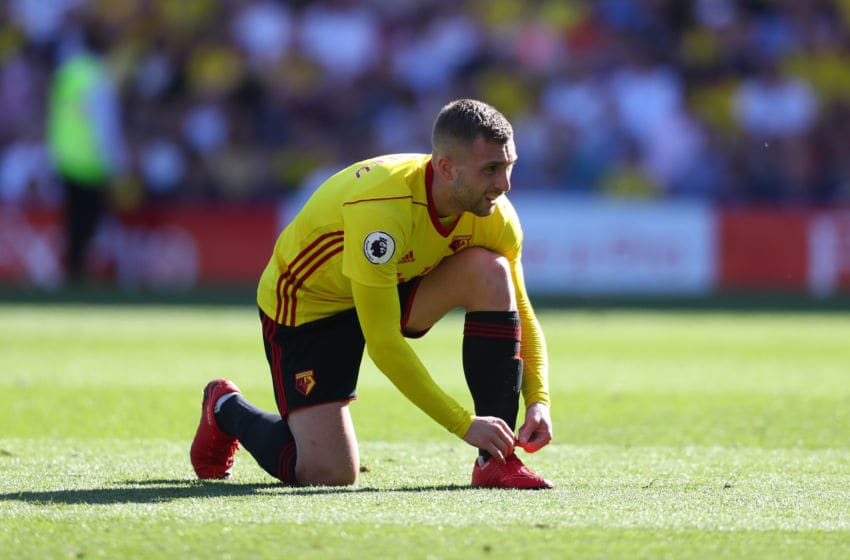 WATFORD, ENGLAND - MAY 05: Gerard Deulofeu of Watford during the Premier League match between Watford and Newcastle United at Vicarage Road on May 5, 2018 in Watford, England. (Photo by Catherine Ivill/Getty Images)