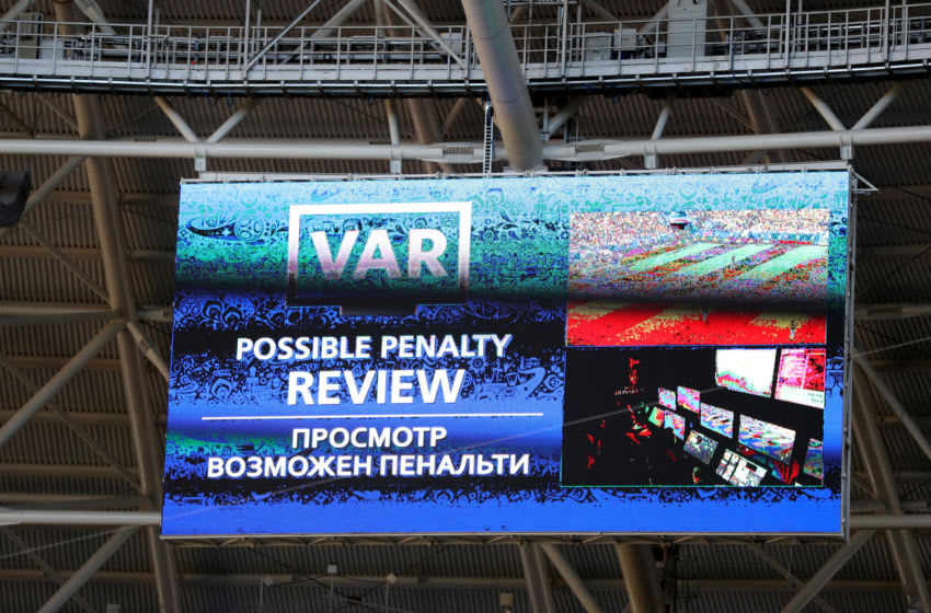 SAMARA, RUSSIA - JUNE 28: The big screen inside the staduim informs fans of a VAR review in consideration, after referee Milorad Mazic awards Senegal a penalty, which he then rescinds after looking at the VAR footage during the 2018 FIFA World Cup Russia group H match between Senegal and Colombia at Samara Arena on June 28, 2018 in Samara, Russia. (Photo by Michael Steele/Getty Images)