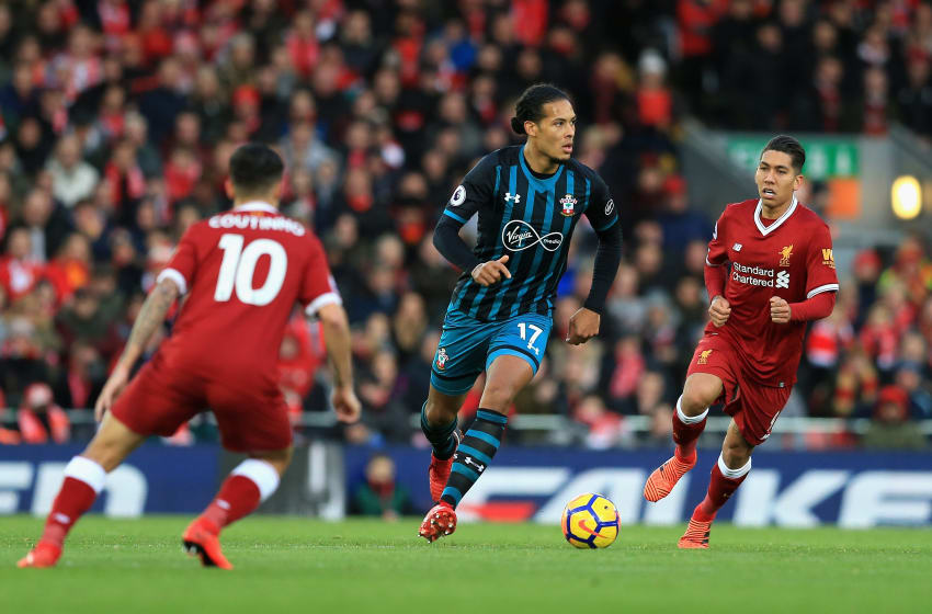 LIVERPOOL, ENGLAND - NOVEMBER 18: Virgil van Dijk of Southampton in action during the Premier League match between Liverpool and Southampton at Anfield on November 18, 2017 in Liverpool, England. (Photo by Jan Kruger/Getty Images)