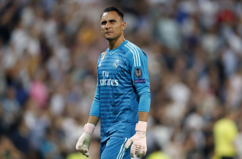 Real Madrid goalkeeper Keylor Navas during the UEFA Champions League group G match between Real Madrid and AS Roma at the Santiago Bernabeu stadium on September 19, 2018 in Madrid, Spain(Photo by VI Images via Getty Images)