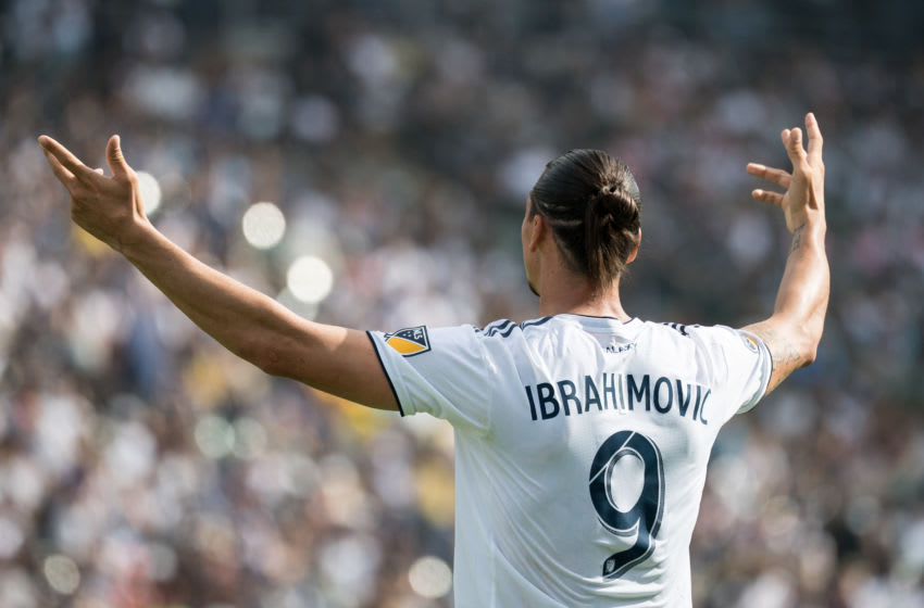CARSON, CA - OCTOBER 28: Zlatan Ibrahimovic #9 of Los Angeles Galaxy during the Los Angeles Galaxy's MLS match against Houston Dynamo at the StubHub Center on October 28, 2018 in Carson, California. The Houston Dynamo won the match 3-2 (Photo by Shaun Clark/Getty Images)