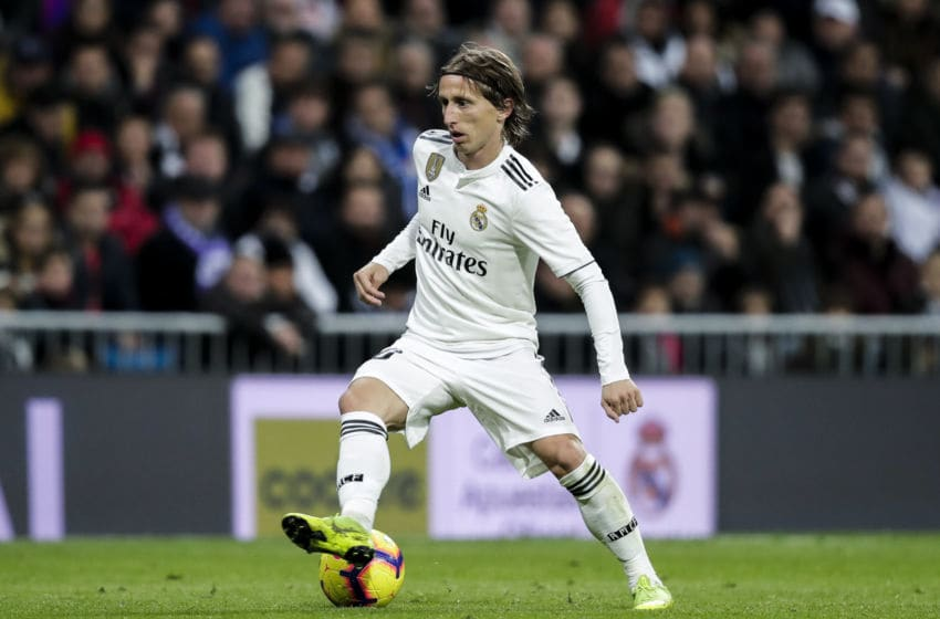MADRID, SPAIN - DECEMBER 1: Luka Modric of Real Madrid during the La Liga Santander match between Real Madrid v Valencia at the Santiago Bernabeu on December 1, 2018 in Madrid Spain (Photo by David S. Bustamante/Soccrates/Getty Images)