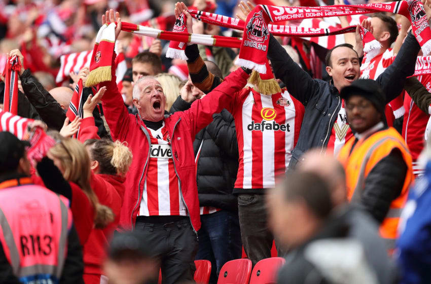 LONDON, ENGLAND - MARCH 31: Sunderland fans during the Checkatrade Trophy Final between Sunderland AFC and Portsmouth FC at Wembley Stadium on March 31, 2019 in London, England. (Photo by James Williamson - AMA/Getty Images)