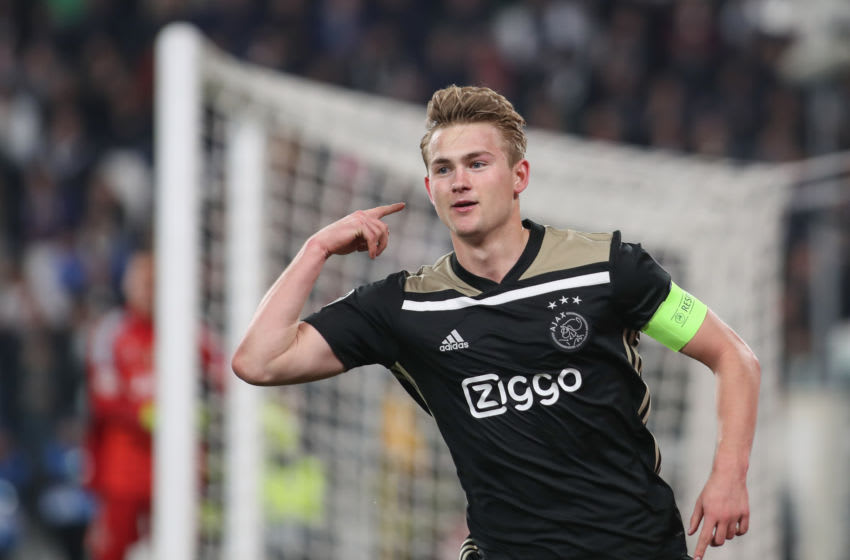 Matthijs de Ligt during the UEFA Champions League Quarter Final second leg match between Juventus and Ajax at Juventus Stadium on April 16, 2019 in Turin, Italy. (Photo by Ahmad Mora/NurPhoto via Getty Images)