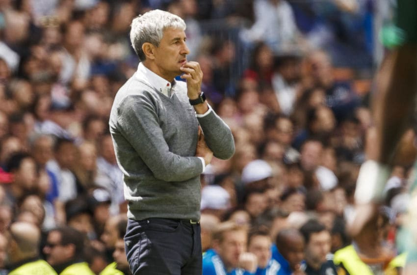 MADRID, SPAIN - MAY 19: Head coach Quique Setien of Real Betis Balompie looks on during the La Liga match between Real Madrid CF and Real Betis Balompie at Estadio Santiago Bernabeu on May 19, 2019 in Madrid, Spain. (Photo by TF-Images/Getty Images)