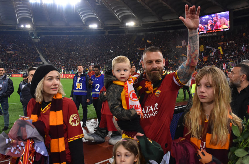 AS Roma football player Daniele De Rossi, with his wife, Italian actress Sarah Felberbaum and their children Gaia, Noah and Olivia at the Olimpic Stadium. The foodball player left AS Roma after 18 years of career. Rome (Italy), May 26th, 2019 (Photo by Massimo Insabato/Archivio Massimo Insabato/Mondadori via Getty Images)
