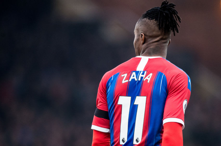 LONDON, ENGLAND - NOVEMBER 03: Wilfried Zaha of Crystal Palace reacts during the Premier League match between Crystal Palace and Leicester City at Selhurst Park on November 3, 2019 in London, United Kingdom. (Photo by Sebastian Frej/MB Media/Getty Images)