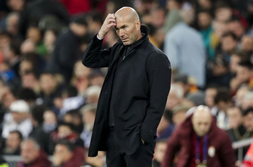 MADRID, SPAIN - NOVEMBER 6: coach Zinedine Zidane of Real Madrid during the UEFA Champions League match between Real Madrid v Galatasaray at the Santiago Bernabeu on November 6, 2019 in Madrid Spain (Photo by David S. Bustamante/Soccrates/Getty Images)
