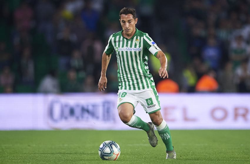 SEVILLE, SPAIN - OCTOBER 30: Andres Guardado of Real Betis Balompie in action during the Liga match between Real Betis Balompie and RC Celta de Vigo at Estadio Benito Villamarin on October 30, 2019 in Seville, Spain. (Photo by Aitor Alcalde Colomer/Getty Images)