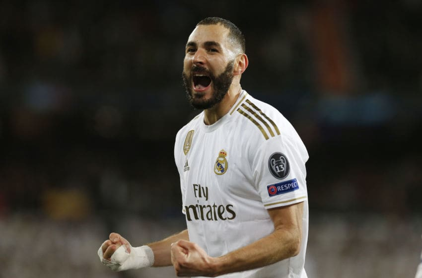 MADRID, SPAIN, NOVEMBER 26, 2019: Real Madrid CF's Karim Benzema celebrates after scoring a goal during UEFA Champions League match, groups between Real Madrid and Paris Saint Germain at Santiago Bernabeu Stadium in Madrid, Spain.- PHOTOGRAPH BY Manu Reino / Echoes Wire/ Barcroft Media (Photo credit should read Manu Reino / Echoes Wire / Barcroft Media via Getty Images)