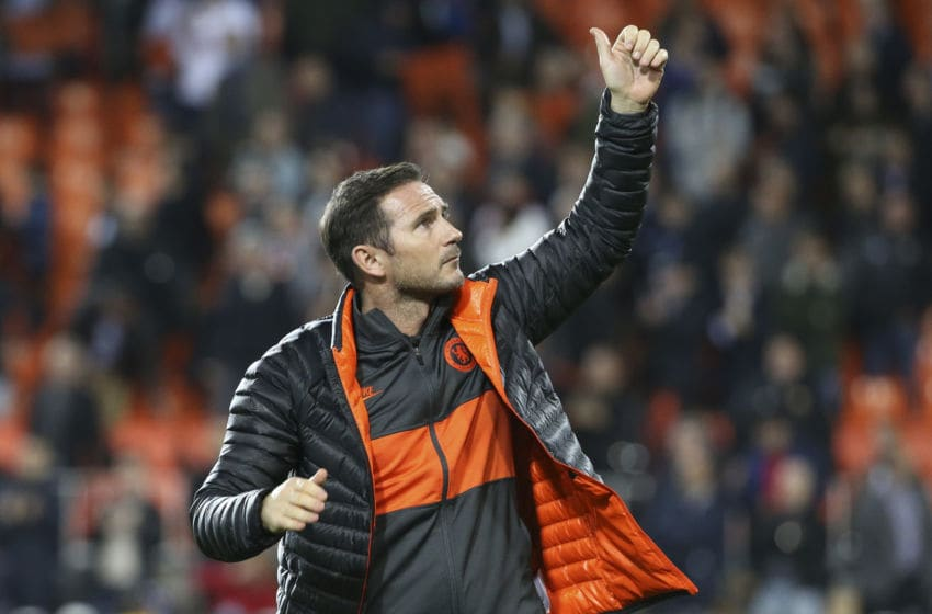 VALENCIA, SPAIN - NOVEMBER 27: Coach of Chelsea Frank Lampard salutes the supporters following the UEFA Champions League group H match between Valencia CF and Chelsea FC at Estadio Mestalla on November 27, 2019 in Valencia, Spain. (Photo by Jean Catuffe/Getty Images)