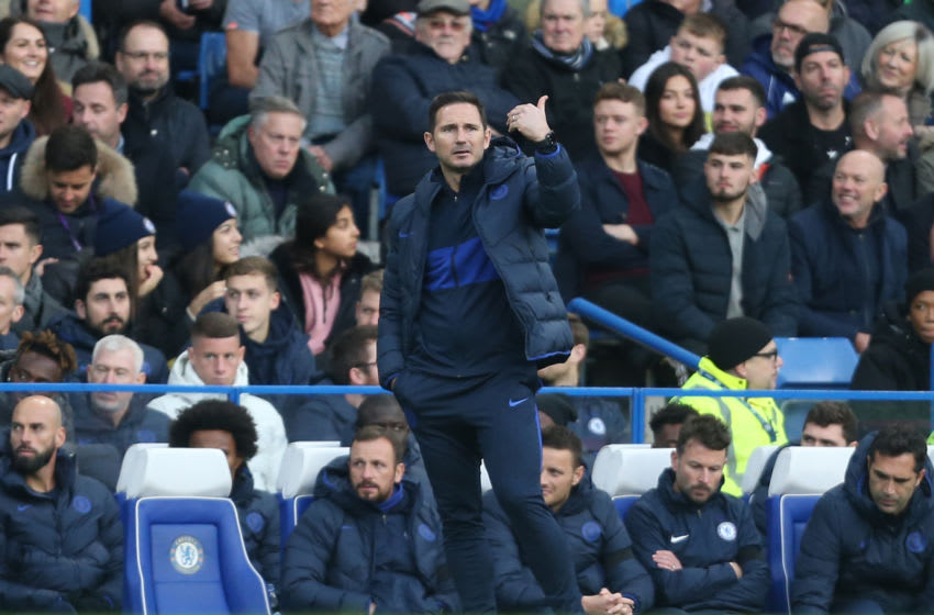 LONDON, ENGLAND - NOVEMBER 30: Chelsea manager Frank Lampard during the Premier League match between Chelsea FC and West Ham United at Stamford Bridge on November 30, 2019 in London, United Kingdom. (Photo by Rob Newell - CameraSport via Getty Images)