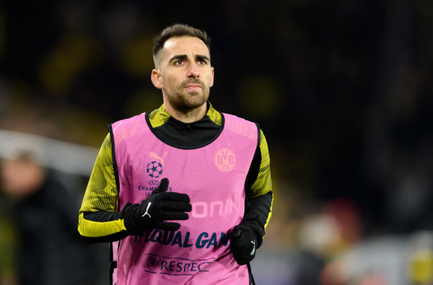 DORTMUND, GERMANY - DECEMBER 10: (BILD ZEITUNG OUT) Paco Alcacer of Borussia Dortmund looks on during the UEFA Champions League group F match between Borussia Dortmund and Slavia Praha at Signal Iduna Park on December 10, 2019 in Dortmund, Germany. (Photo by TF-Images/Getty Images)